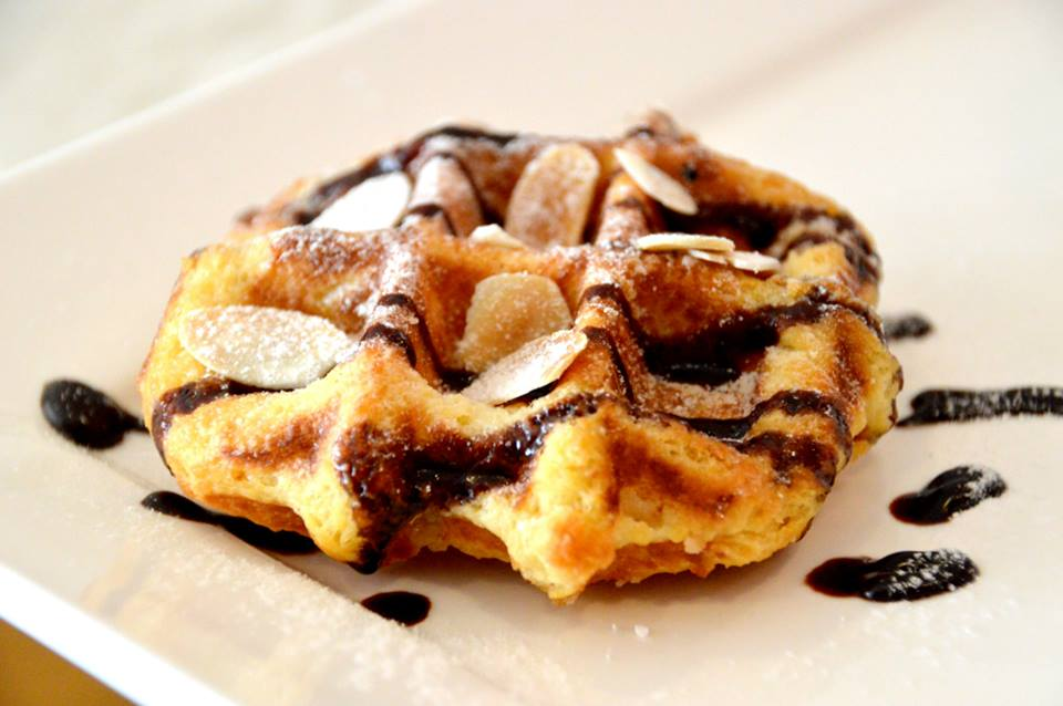 Leigh Waffle with Belgian Chocolate Sauce and Toasted Almond Flakes