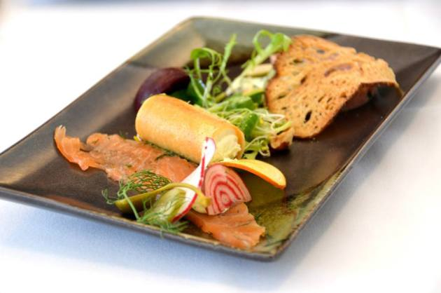 Citrus Cured Salmon, Woodside Chevre Cigar, Smoked Pork Hock & Parsley Terrine