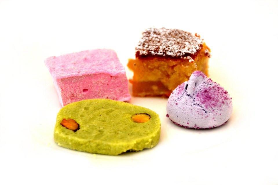 Pistachio Shortbread, Rose Water Marshmallow, Frangipani Tart, Violet Meringue