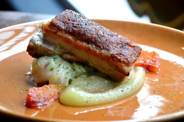 Roast Pork Belly with Shaved Fennel and Apple Sauce