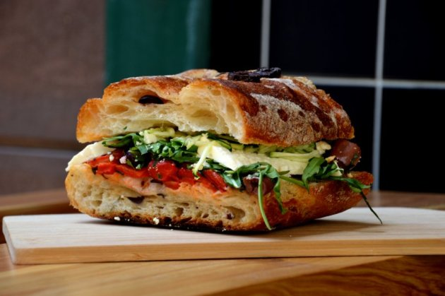 Rosemary and Olive Ciabatta with Grilled Vegetables and Feta