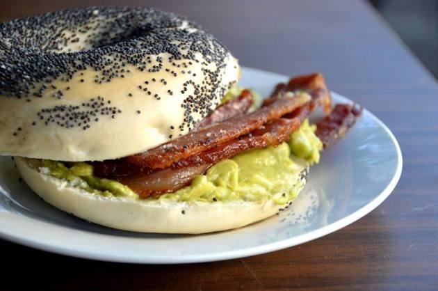 Bacon and Smashed Avocado Bagel