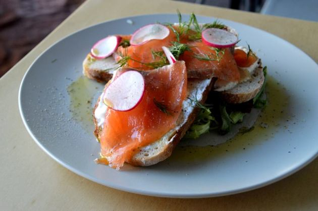 Smoked Salmon, Dill, Sour Cream, Radish, Herbs and Rye