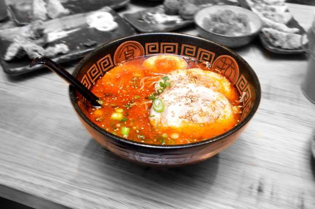 Ramen in Spicy Hot Flavoured Soup with Roast Pork and Egg