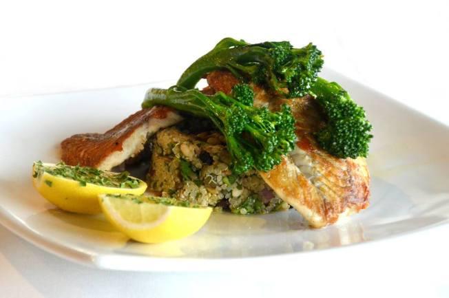 Grilled Barramundi with Mediterranean Quinoa Salad & Broccolini