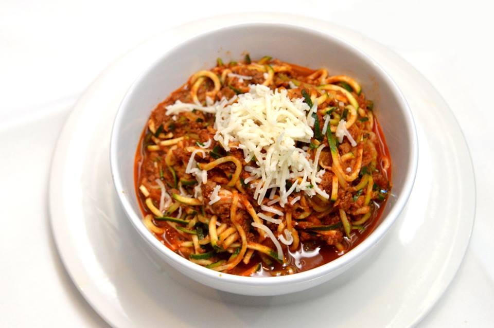 Spaghetti Bolognese with Zucchini Pasta