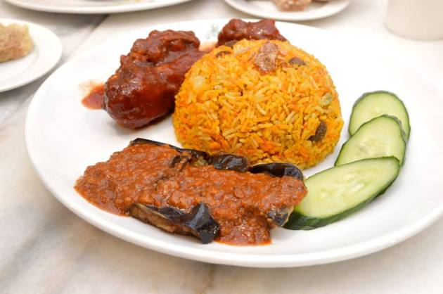Pappa Special Biryani Rice with Sambal Eggplant and Red Chicken