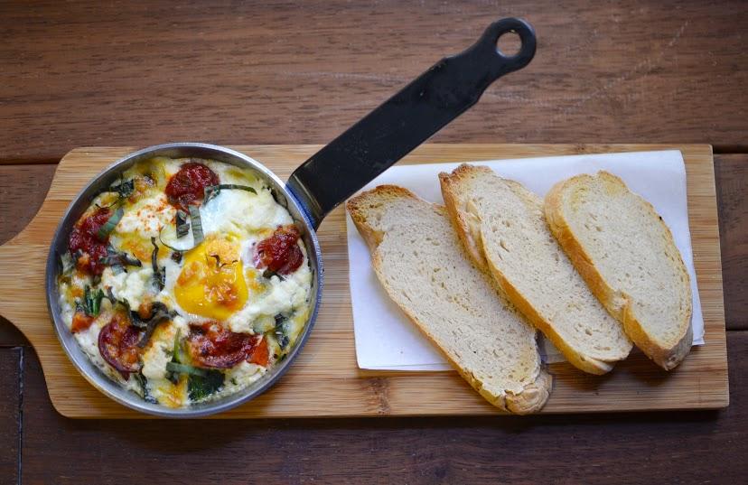 Baked Egg with Tomato and Chorizo