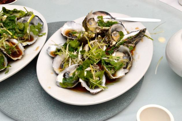 Oysters with Ginger and Shallots