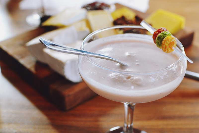 Fruit Loop infused vodka, Cointreau, coconut syrup, pineapple juice, fresh pressed strawberry