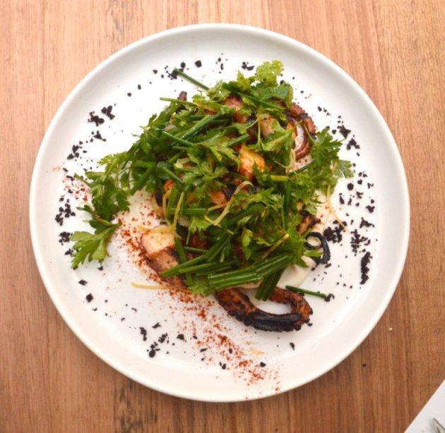 Octopus, white almond, dried olives, preserved lemon, herb salad