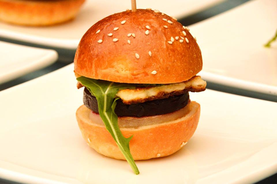 Roast Beetroot, Pear and Haloumi Slider