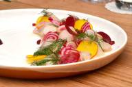 Kingfish crudo, dill, pomegranate, radish, beets