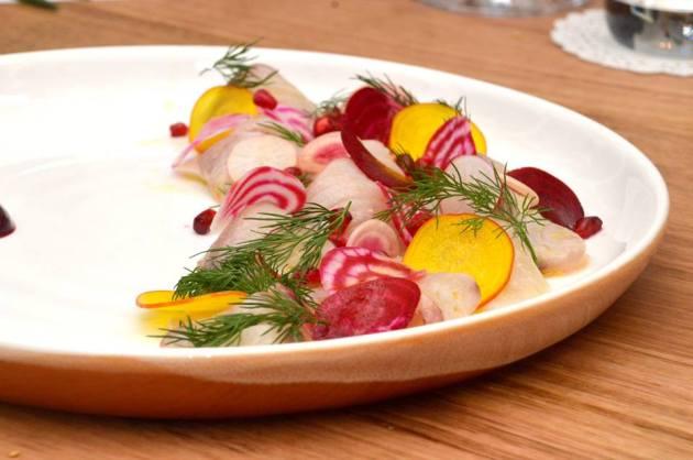 Kingfish crudo, dill, pomegranate, radish, beets