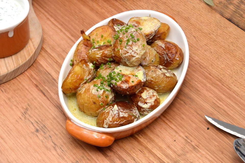 Roasted potatoes, rosemary, feta