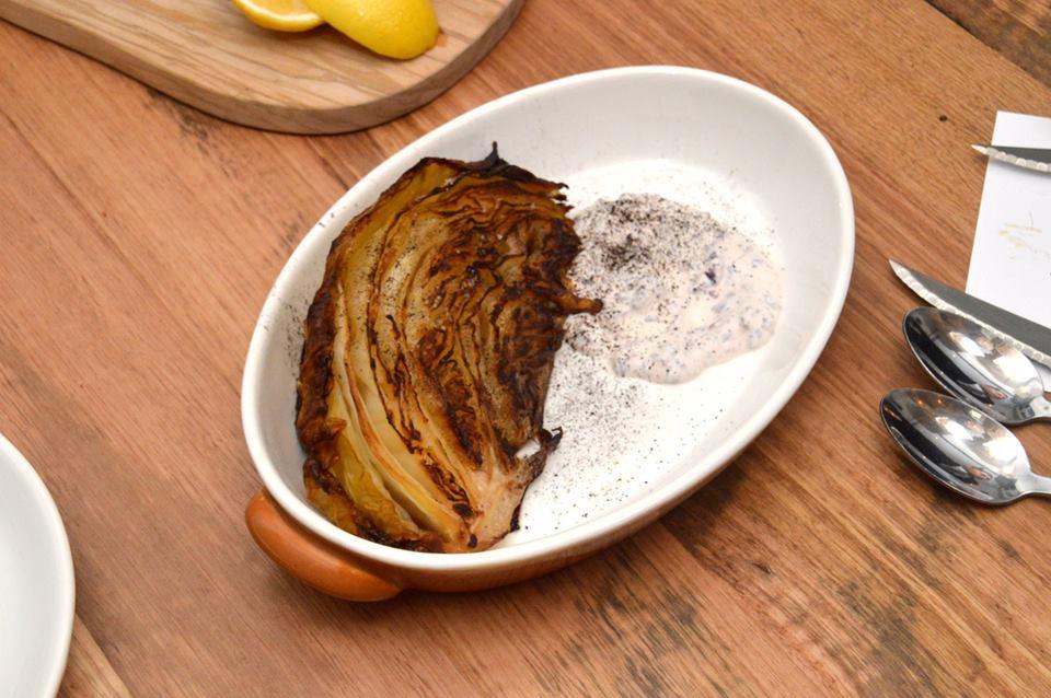 Grilled cabbage. Kalamata yoghurt, leek ash