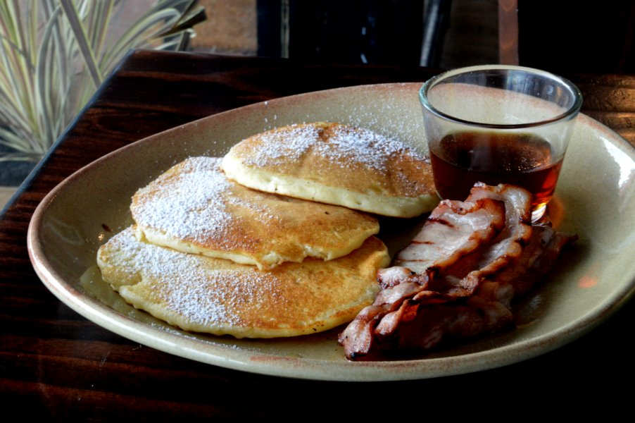 Buttermilk Pancakes with Bacon and Maple Syrup