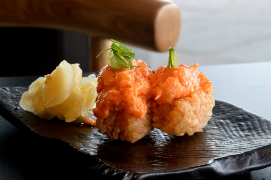 Crispy Rice with Spicy Truffle Salmon