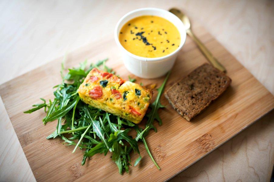 Veggie Frittata and Cauliflower Soup