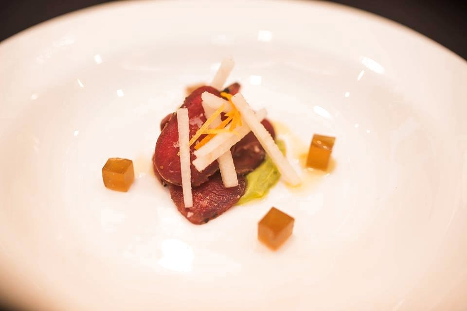Frozen Kangaroo Fillet, Nashi Pear, Yuzo Avocado Puree, Dehydrated Cranberries