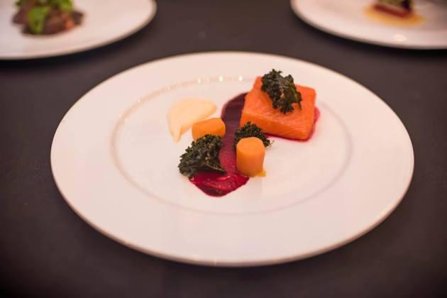 Roast Petuna Ocean Trout, Warmed Pickled Carrot, Kale Crisp, Beetroot, Fennel Pollen Cream